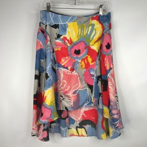 2000s Y2K Floral Print Silk High Low Skirt Size 8