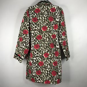 Vintage 80s YIKES Leopard Print Roses Flannel Sleep Shirt Nightgown Size S - Fashionconstellate.com