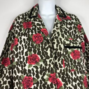 1980s YIKES Leopard Print Roses Flannel Sleep Shirt Nightgown Size Small - Fashionconstellate.com