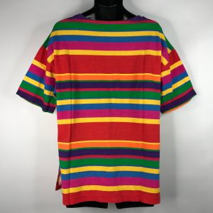 Vintage 80s Dead Stock Boutique Europa Bright Rainbow Striped T-shirt OS One Size - Fashionconstellate.com