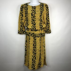 Vintage 90s Does 40s Billy Jack Black Yellow Bold Abstract Belted Blouson Dress Size 7/8