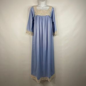 Vintage 60s Aristocraft Periwinkle Blue Nylon Ivory Lace Modest Nightgown Size S