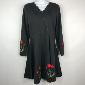 Vintage 70s Black Embroidered Red Floral Poppies Long Sleeve Mini Dress Size M