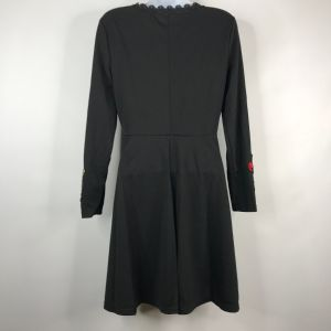 Vintage 70s Black Embroidered Red Floral Poppies Long Sleeve Mini Dress Size M - Fashionconstellate.com
