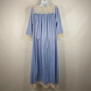 Vintage 60s Aristocraft Periwinkle Blue Nylon Ivory Lace Modest Nightgown Size S - Fashionconstellate.com