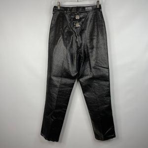 Vintage 80s Rough Rider Shiny Black Faux Leather Silver Concho Western Mom Jeans Size 9/10 27 X 29 - Fashionconstellate.com