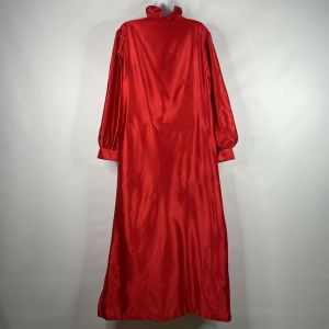 Vintage 80s Anne Leslie Red Satin White Lace Modest Full Length Nightgown Size M - Fashionconstellate.com