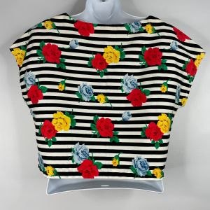 Vintage 80s Black White Striped Red Yellow Floral Roses Crop Top Size M Handmade - Fashionconstellate.com