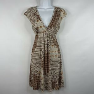 Vintage 70s Ivory Brown Floral Patchwork Polyester Empire Waist Mini Dress Size S