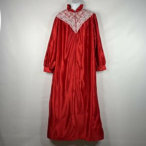 Vintage 80s Anne Leslie Red Satin White Lace Modest Full Length Nightgown Size M
