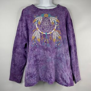Vintage 1994 Cactus Bay Lynee Purple Tie Dye Native American Feather Dream Catcher T-shirt One Size