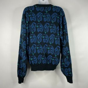 Vintage 80s Wrangler Womens Black Blue Abstract Paisley Jumper Sweater Size XL - Fashionconstellate.com