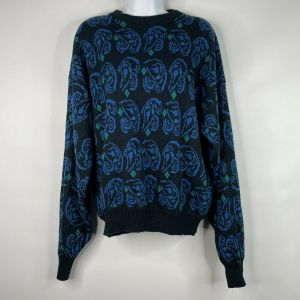 Vintage 80s Wrangler Womens Black Blue Abstract Paisley Jumper Sweater Size XL
