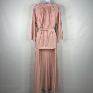 Vintage 70s Ship N Shore Koret of California Dusty Pink Belted Blouse Maxi Skirt Set Size 14 - Fashionconstellate.com