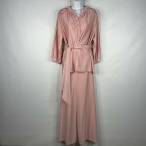 Vintage 70s Ship N Shore Koret of California Dusty Pink Belted Blouse Maxi Skirt Set Size 14