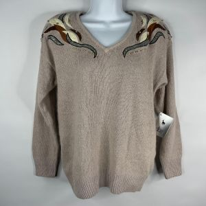 Vintage 80s Le Chois Beige Silk Angora Jumper Sweater Size M Animal Print Patches Beads Studs