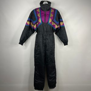 Vintage 80s OSSI Womens Black Pink Gold Geometric Floral One Piece Ski Snow Suit Size 8