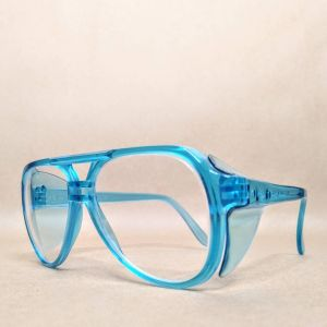 Vintage Aviator Safety Glasses Neon Turquoise Blue 80s NOS - Fashionconstellate.com