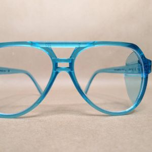 Vintage Aviator Safety Glasses Neon Turquoise Blue 80s NOS