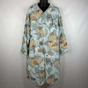 Vintage 80s Charles Goodnight Mens Continents Oceans Cotton Night Shirt One Size Fits All