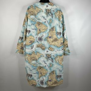 Vintage 80s Charles Goodnight Mens Continents Oceans Cotton Night Shirt One Size Fits All - Fashionconstellate.com