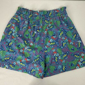 Vintage 90s Petite Sophisticate Turquoise Blue Abstract Fish High Waisted Paperbag Shorts Size M