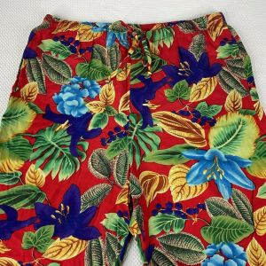 Vintage 80s Impressions Red Floral Tropical Hawaiian Resort Wear Palazzo Pants Size S