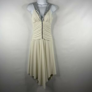 Vintage 90s Does 70s Voila White Silver Ruched Hi Lo Cocktail Disco Dress Size S