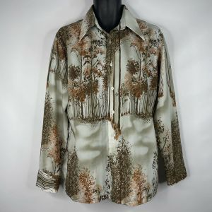 1970s Media Brown Orange Abstract Forest Trees Polyester Disco Shirt Size Large