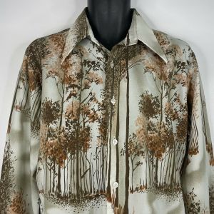 1970s Media Brown Orange Abstract Forest Trees Polyester Disco Shirt Size Large - Fashionconstellate.com