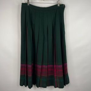 Vintage 70s Pendleton Forest Green Red Plaid Pleated Wool Midi Skirt Size 14