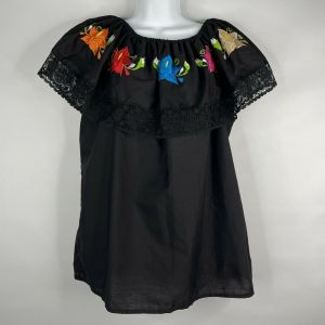 Vintage 80s Artesanias Mickey Black Floral Embroidered Mexican Peasant Blouse M