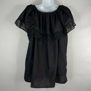 Vintage 80s Artesanias Mickey Black Floral Embroidered Mexican Peasant Blouse M - Fashionconstellate.com