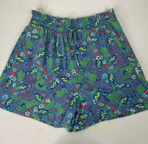Vintage 90s Petite Sophisticate Turquoise Blue Abstract Fish High Waisted Paperbag Shorts Size M - Fashionconstellate.com
