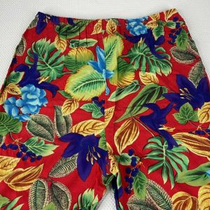 Vintage 80s Impressions Red Floral Tropical Hawaiian Resort Wear Palazzo Pants Size S - Fashionconstellate.com