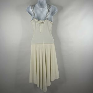 Vintage 90s Does 70s Voila White Silver Ruched Hi Lo Cocktail Disco Dress Size S - Fashionconstellate.com