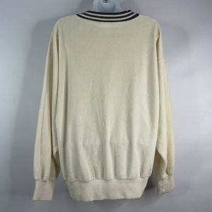 Vintage 80s Aileen Sport Ivory Velour Nautical Striped Oversized Jumper Sweater Size S - Fashionconstellate.com
