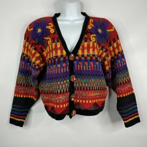 Vintage 80s Carole Little Petites Funky Chunky Flower Cropped Cardigan Sweater M