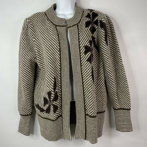 Vintage 80s Brown White Wool Angora Floral Applique Open Front Sweater Coat Size M