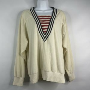 Vintage 80s Aileen Sport Ivory Velour Nautical Striped Oversized Jumper Sweater Size S