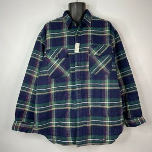 Vintage 80s Deadstock Anchor Blue WKWR Quilted Blue Green Flannel Work Shirt Size XL