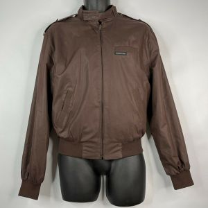 Vintage 80s Members Only Rainbow Tag Brown Cafe Racer Bomber Jacket Size M 40