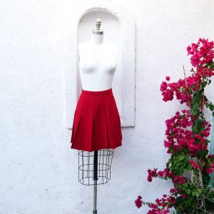 1950s Red Wool Pleated Skirt, XXS