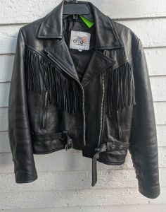 80s Leather Fringe Jacket Moto Motorcycle Fureal Vintage S M - Fashionconstellate.com