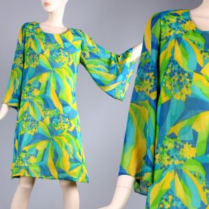 XL Vintage 60s Green Bright Psychedelic Bell Sleeve Mini Go Go Dress 60s 70s