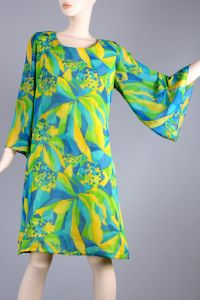 XL Vintage 60s Green Bright Psychedelic Bell Sleeve Mini Go Go Dress 60s 70s - Fashionconstellate.com