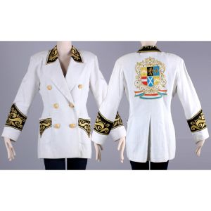 S Vintage 1980s White Nautical Cotton Linen Blazer Embroidered Crest Jacket 80s