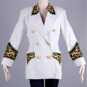 S Vintage 1980s White Nautical Cotton Linen Blazer Embroidered Crest Jacket 80s - Fashionconstellate.com