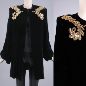 OS Vintage 1950s Black Velvet Gold Sequin Bishop Sleeve Cocktail Jacket 50s