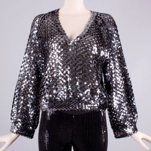 OS Vintage 1970s Gray Silver Sequin Billow Sleeve Club Top Disco Shirt 70s - Fashionconstellate.com